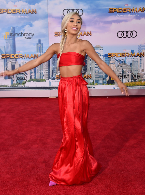 ". Eva Gutowski arrives at the Los Angeles premiere of ""Spider-Man: Homecoming\"" at the TCL Chinese Theatre on Wednesday, June 28, 2017. (Photo by Jordan Strauss/Invision/AP)"
