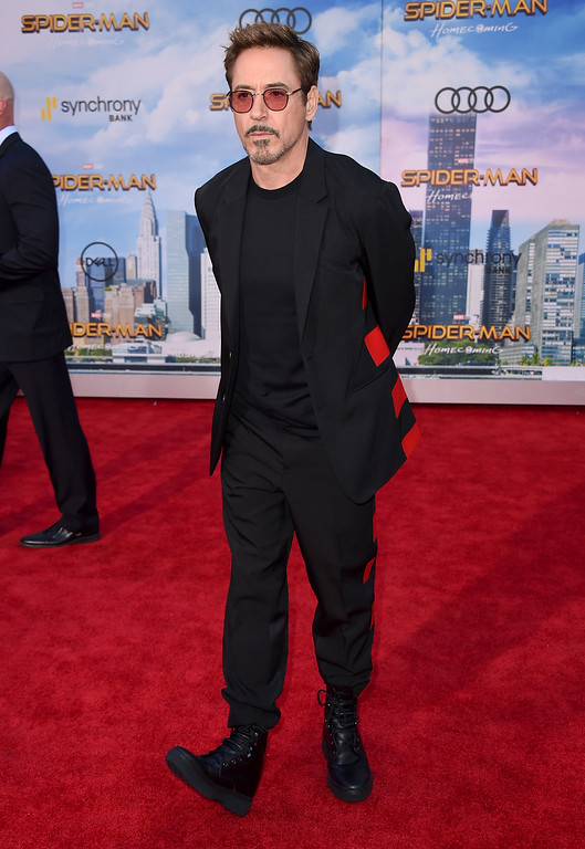". Robert Downey Jr. arrives at the Los Angeles premiere of ""Spider-Man: Homecoming\"" at the TCL Chinese Theatre on Wednesday, June 28, 2017. (Photo by Jordan Strauss/Invision/AP)"