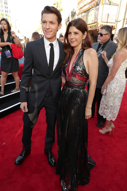 ". Tom Holland and Marisa Tomei seen at Columbia Pictures World Premiere of ""Spider-Man: Homecoming\"" at TCL Chinese Theatre on Wednesday, June 28, 2017, in Hollywood, CA. (Photo by Eric Charbonneau/Invision for Sony Pictures/AP Images)"