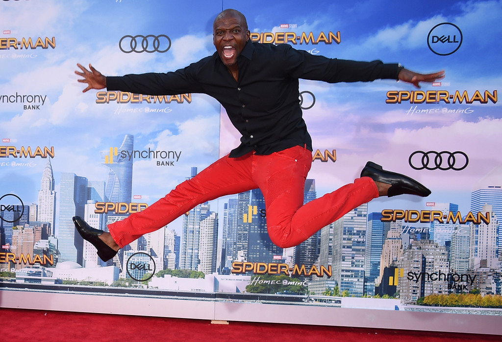 ". Terry Crews arrives at the Los Angeles premiere of ""Spider-Man: Homecoming\"" at the TCL Chinese Theatre on Wednesday, June 28, 2017. (Photo by Jordan Strauss/Invision/AP)"