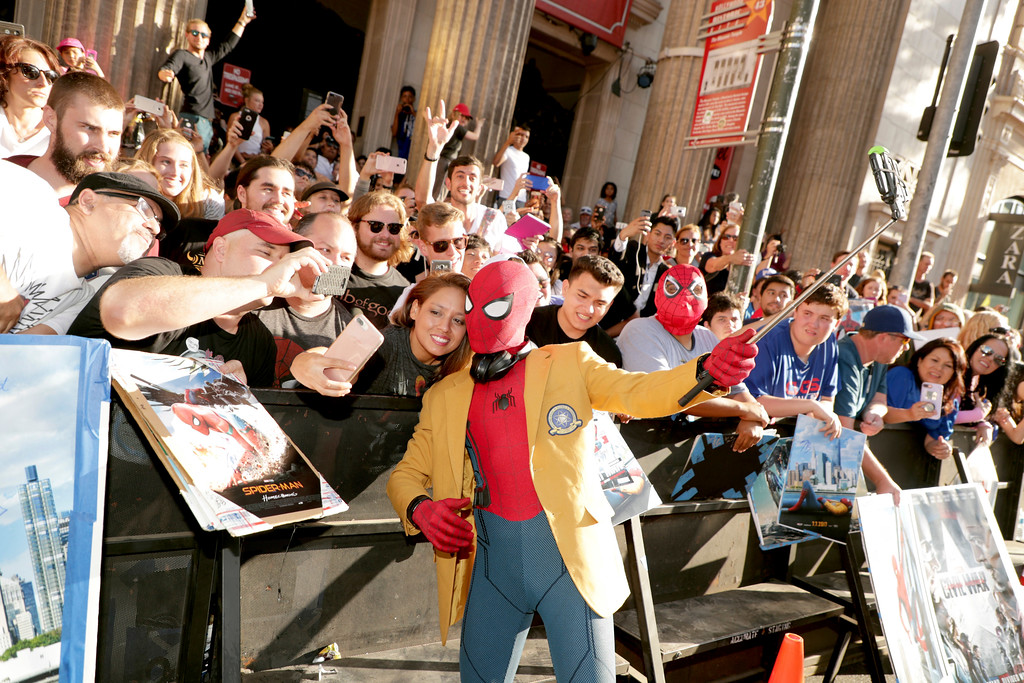 ". Tom Holland seen at Columbia Pictures World Premiere of ""Spider-Man: Homecoming\"" at TCL Chinese Theatre on Wednesday, June 28, 2017, in Hollywood, CA. (Photo by Eric Charbonneau/Invision for Sony Pictures/AP Images)"