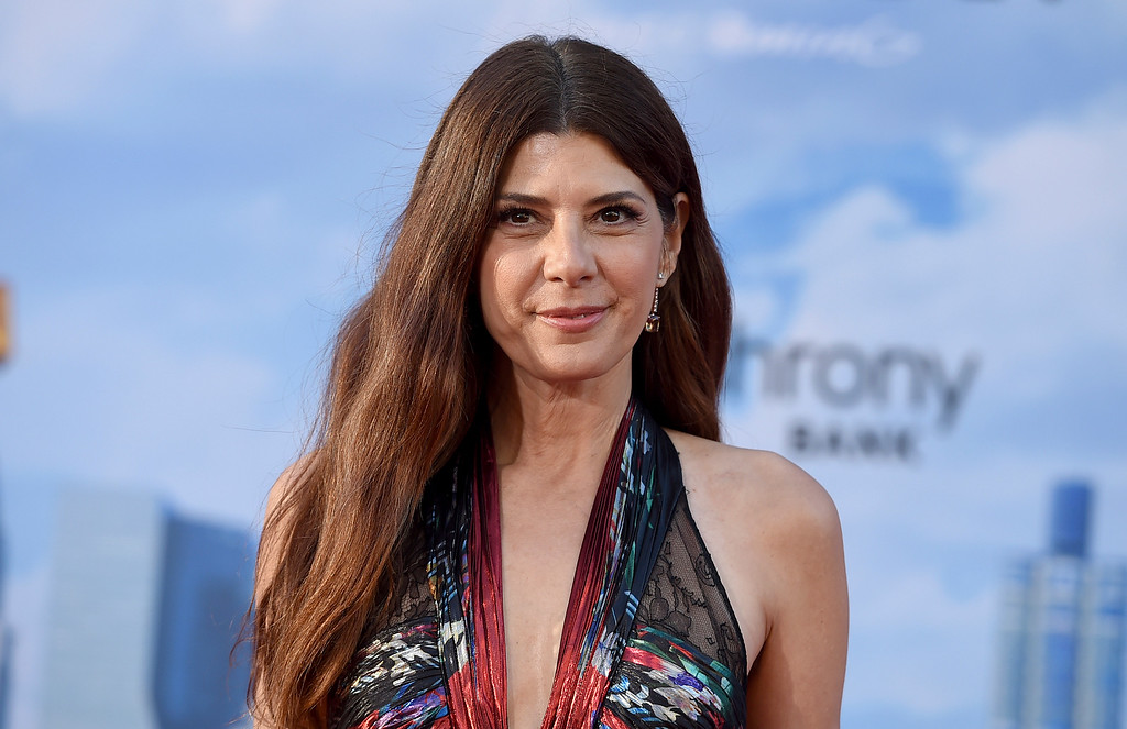 ". Marisa Tomei arrives at the Los Angeles premiere of ""Spider-Man: Homecoming\"" at the TCL Chinese Theatre on Wednesday, June 28, 2017. (Photo by Jordan Strauss/Invision/AP)"