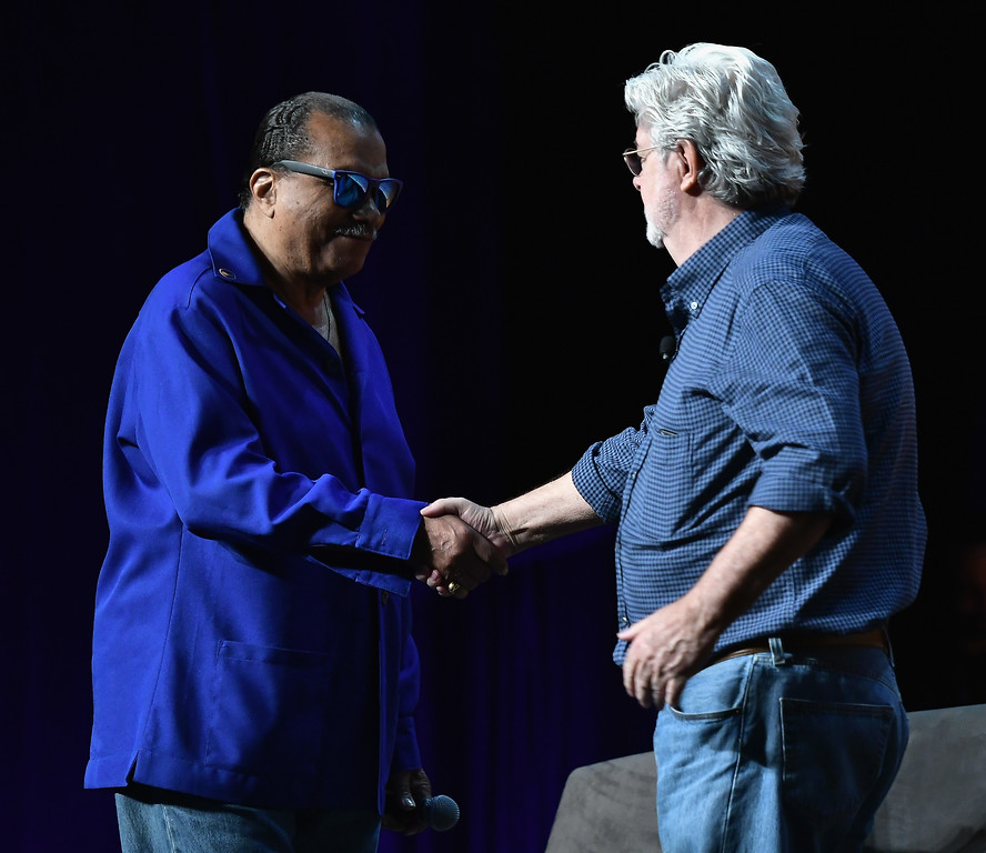 . ORLANDO, FL - APRIL 13:  Billy Dee Williams and George Lucas attends the Star Wars Celebration Day 1 on April 13, 2017 in Orlando, Florida.  (Photo by Gustavo Caballero/Getty Images)