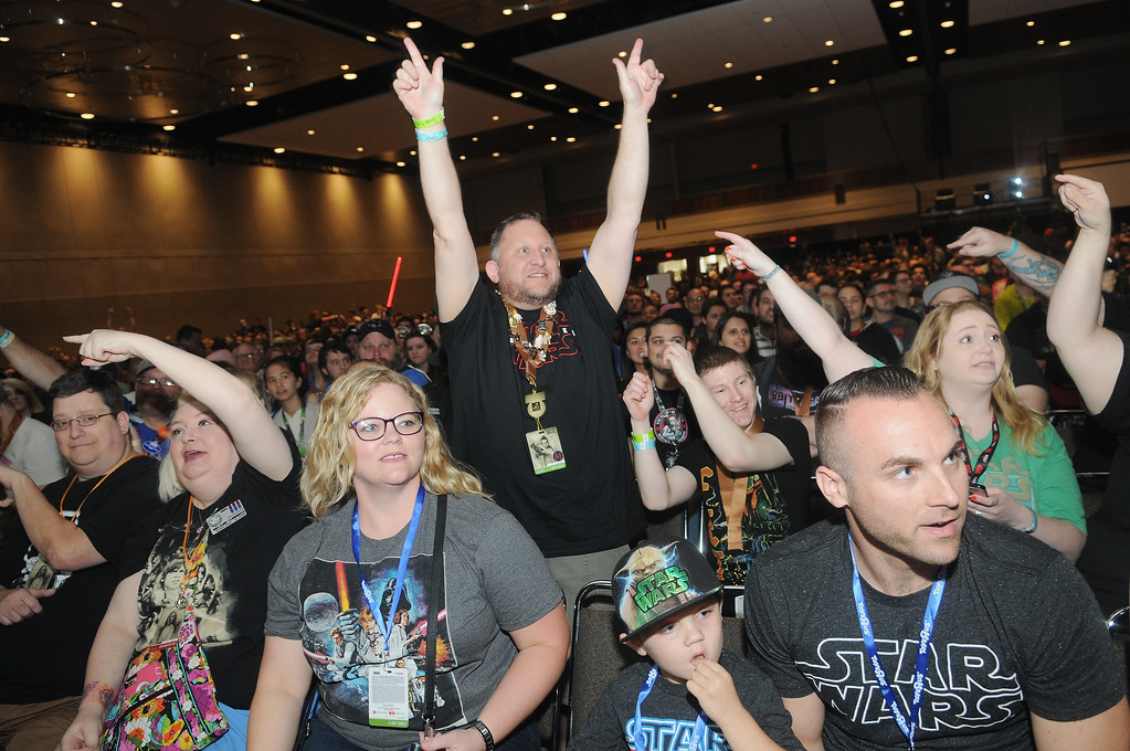 . ORLANDO, FL - APRIL 13:  STAR WARS fans attend the 40 Years of Star Wars panel during the 2017 Star Wars Celebrationat Orange County Convention Center on April 13, 2017 in Orlando, Florida.  (Photo by Gerardo Mora/Getty Images for Disney)