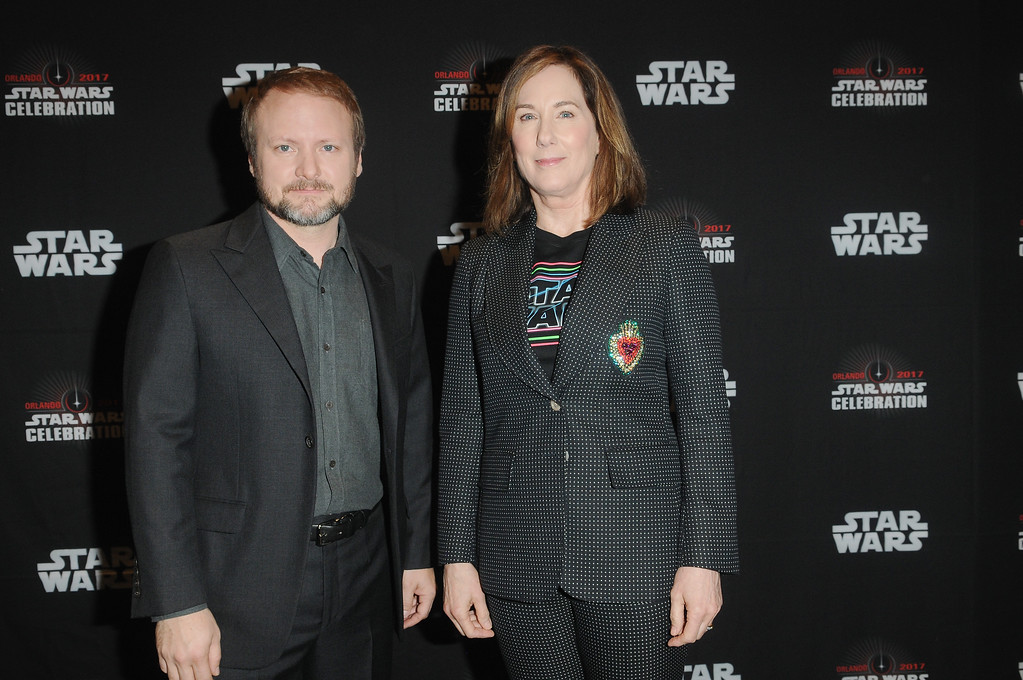 . ORLANDO, FL - APRIL 14:  Rian Johnson and Kathleen Kennedy attend the Star Wars: The Last Jedi during the 2017 Star Wars Celebration at Orange County Convention Center on April 14, 2017 in Orlando, Florida.  (Photo by Gerardo Mora/Getty Images for Disney)