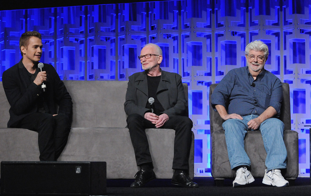 . ORLANDO, FL - APRIL 13:  Hayden Christensen, Ian McDiarmid and George Lucas attend the 40 Years of Star Wars panel during the 2017 Star Wars Celebration at Orange County Convention Center on April 13, 2017 in Orlando, Florida.  (Photo by Gerardo Mora/Getty Images for Disney)