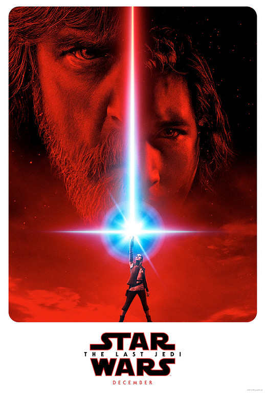 """. This image released by LucasFilm shows a promotional poster for the upcoming \""""Star Wars: The Last Jedi,\"""" film to be released in December. (LucasFilm/Disney via AP)"""