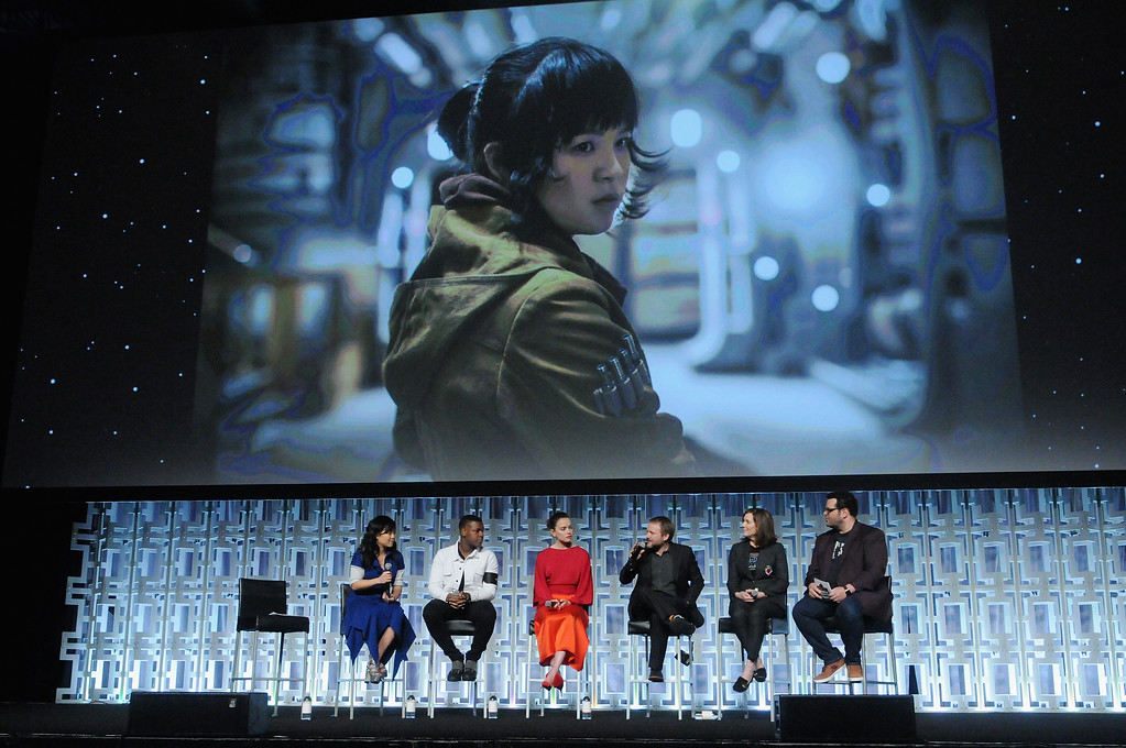 . ORLANDO, FL - APRIL 14: Kelly Marie Tran, John Boyega, Daisy Ridley, Rian Johnson, Kathleen Kennedy and Josh Gad attend the Star Wars: The Last Jedi panel during the 2017 Star Wars Celebration at Orange County Convention Center on April 14, 2017 in Orlando, Florida.  (Photo by Gerardo Mora/Getty Images for Disney)