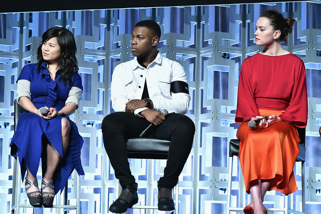 . ORLANDO, FL - APRIL 14:  Kelly Marie Tran,John Boyega and Daisy Ridley attends the Star Wars Celebration day 02  on April 14, 2017 in Orlando, Florida.  (Photo by Gustavo Caballero/Getty Images)