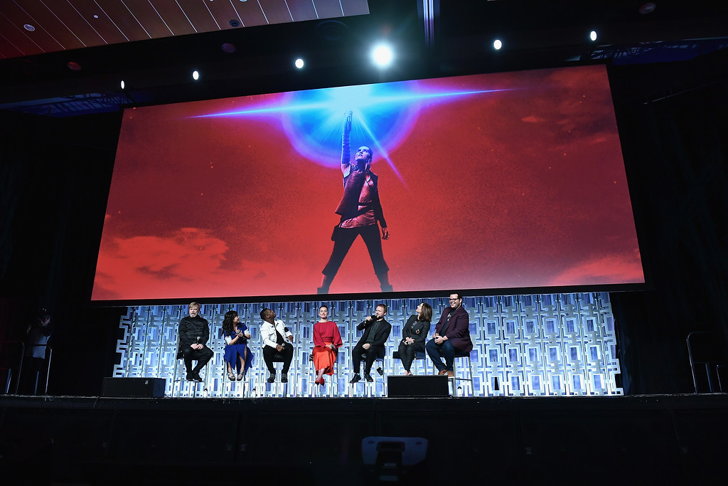 . ORLANDO, FL - APRIL 14: Mark Hamill, Kelly Marie Tran, John Boyega, Daisy Ridley ,Rian Johnson ,Kathleen Kennedy and Josh Gad attends the Star Wars Celebration day 02 on April 14, 2017 in Orlando, Florida. (Photo by Gustavo Caballero/Getty Images)