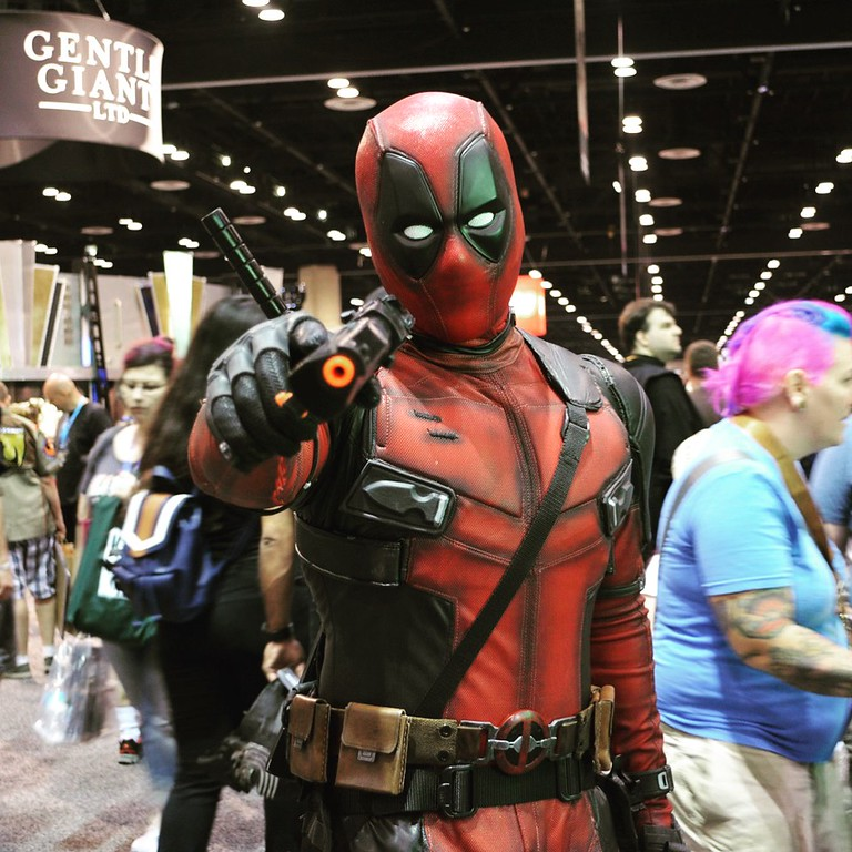 . Cosplayer Chris Blanco of Pomona, California, plays Deadpool at Star Wars Celebration Orlando. (Photo by Neil Nisperos, SCNG)