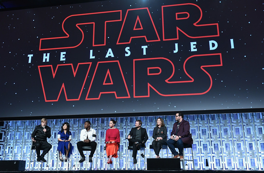 . ORLANDO, FL - APRIL 14: Mark Hamill, Kelly Marie Tran, John Boyega, Daisy Ridley ,Rian Johnson, Kathleen Kennedy and Josh Gad attends the Star Wars Celebration day 02 on April 14, 2017 in Orlando, Florida. (Photo by Gustavo Caballero/Getty Images)