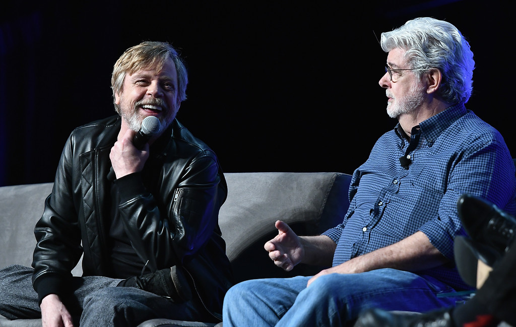 . ORLANDO, FL - APRIL 13:   Mark Hamill and George Lucas attend the Star Wars Celebration Day 1 on April 13, 2017 in Orlando, Florida.  (Photo by Gustavo Caballero/Getty Images)
