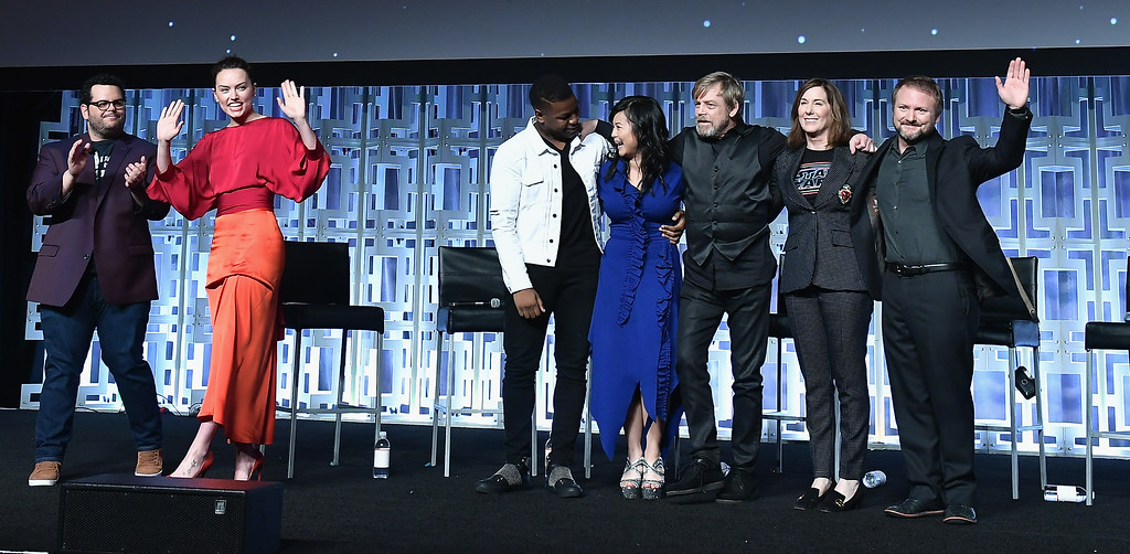. ORLANDO, FL - APRIL 14: Josh Gad, Daisy Ridley, John Boyega, Kelly Marie Tran, Mark Hamill, Kathleen Kennedy and Rian Johnson attend the Star Wars Celebration day 02 on April 14, 2017 in Orlando, Florida.  (Photo by Gustavo Caballero/Getty Images)