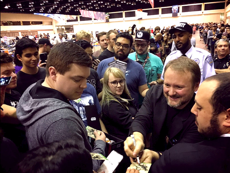 . The Last Jedi director Rian Johnson signs autographs and meets with fans at Star Wars Celebration Orlando on Thursday. (Photo by Neil Nisperos, SCNG)