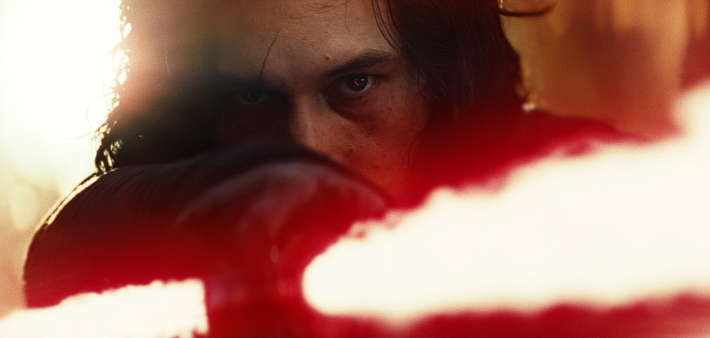 """. This image released by Lucasfilm shows Adam Driver as Kylo Ren in a scene from the upcoming \""""Star Wars: The Last Jedi,\"""" expected in theaters in December.  (Industrial Light & Magic/Lucasfilm via AP)"""