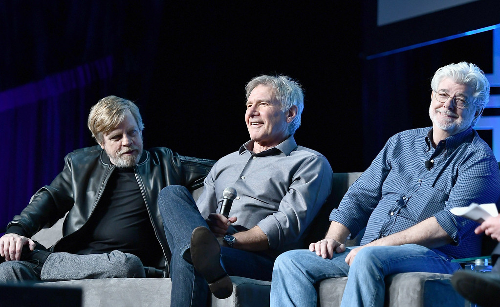 . ORLANDO, FL - APRIL 13:   Mark Hamill, Harrison Ford and George Lucas attend the Star Wars Celebration Day 1 on April 13, 2017 in Orlando, Florida.  (Photo by Gustavo Caballero/Getty Images)