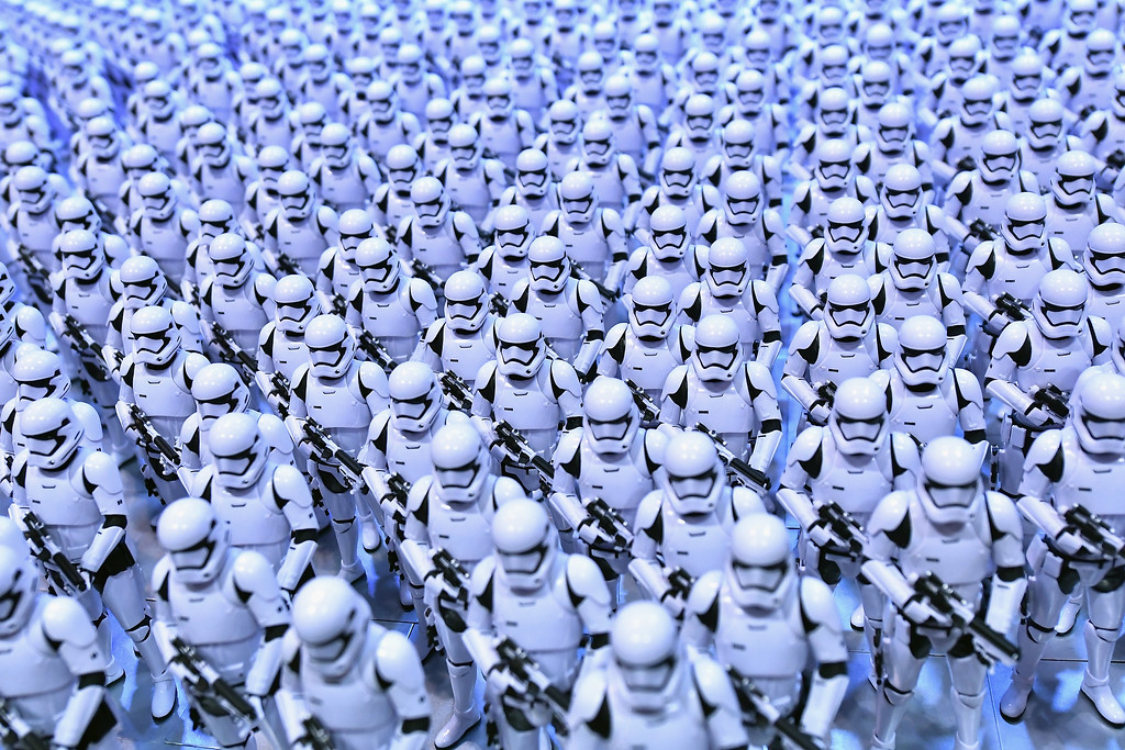 . ORLANDO, FL - APRIL 14:  Stormtrooper are lined up at the Star Wars Celebration day 02  on April 14, 2017 in Orlando, Florida.  (Photo by Gustavo Caballero/Getty Images)