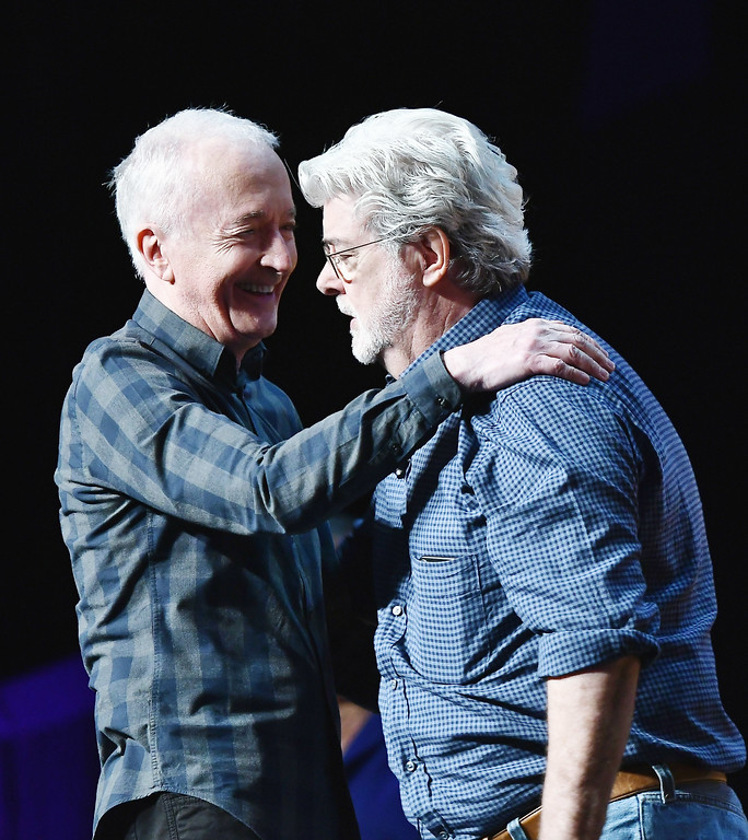 . ORLANDO, FL - APRIL 13:  Anthony Daniels and George Lucas attend the Star Wars Celebration Day 1 on April 13, 2017 in Orlando, Florida.  (Photo by Gustavo Caballero/Getty Images)