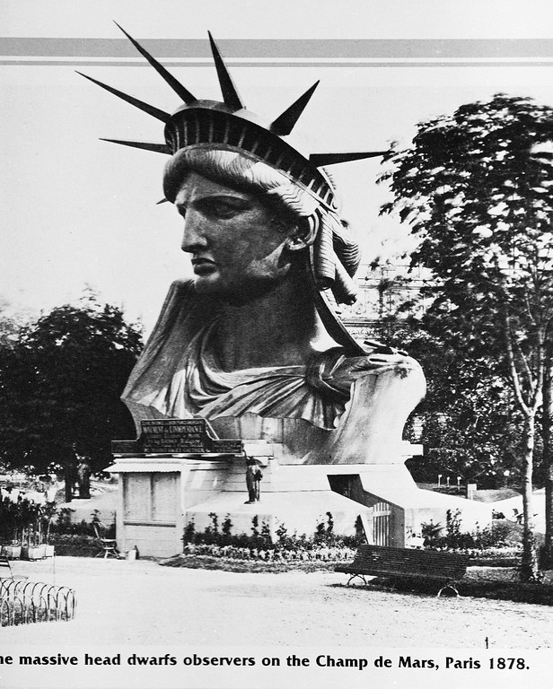 . View of the head of the Statue of Liberty, designed by sculptor Frederic Auguste Bartholdi, on display on the Champ de Mars, Paris, France, 1878. (Photo by Hulton Archive/Getty Images)