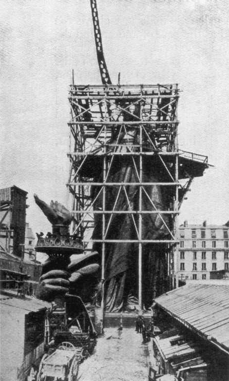 . circa 1885:  The framework for the right arm of the Statue Of Liberty during construction in Paris. Designed by the French sculptor Frederick Bartholdi, the statue was presented to the United States by France in 1876.  (Photo by Hulton Archive/Getty Images)