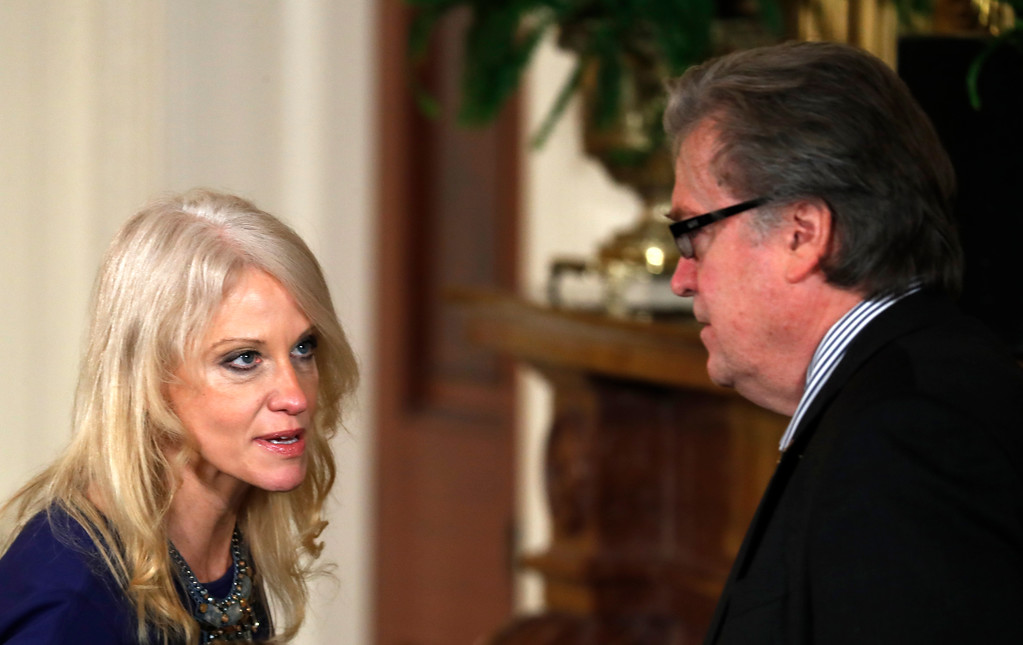 . Counselor to the President Kellyanne Conway talks with chief strategist Steve Bannon prior to the start of a joint news conference with President Donald Trump and Canadian Prime Minister Justin Trudeau in the East Room of the White House in Washington, Monday, Feb. 13, 2017. (AP Photo/Pablo Martinez Monsivais)