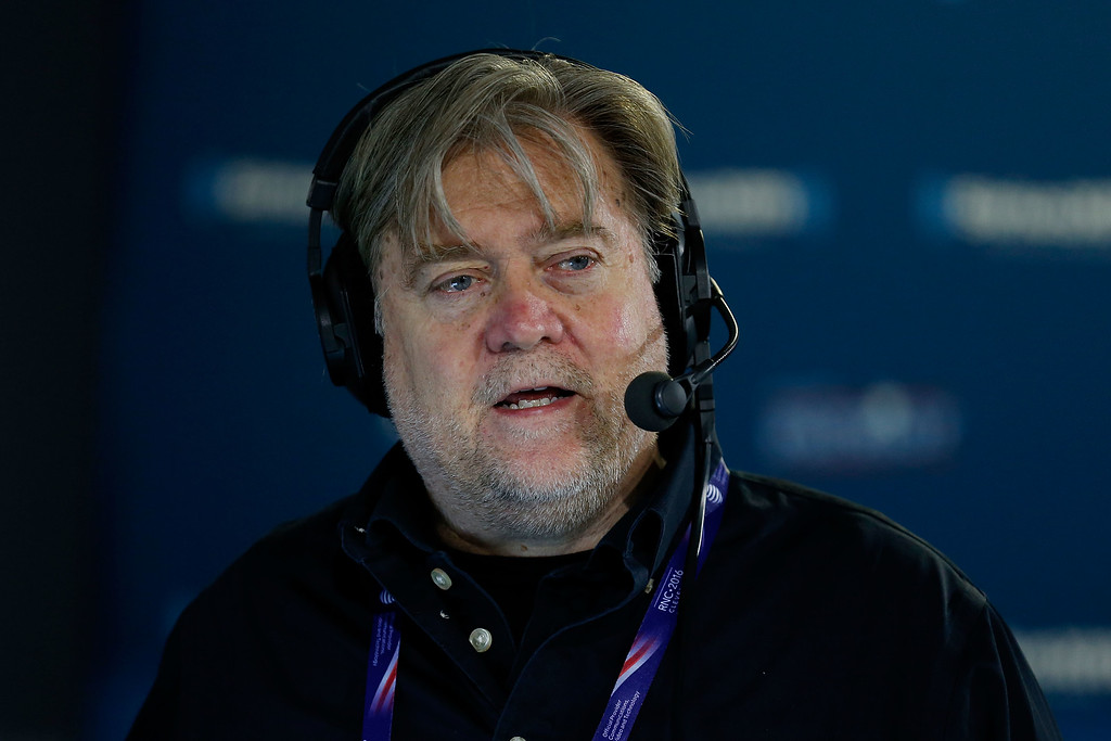 . CLEVELAND, OH - JULY 20: Stephen K. Bannon talks about immigration issues with a caller while hosting Brietbart News Daily on SiriusXM Patriot at Quicken Loans Arena on July 20, 2016 in Cleveland, Ohio. (Photo by Kirk Irwin/Getty Images for SiriusXM)