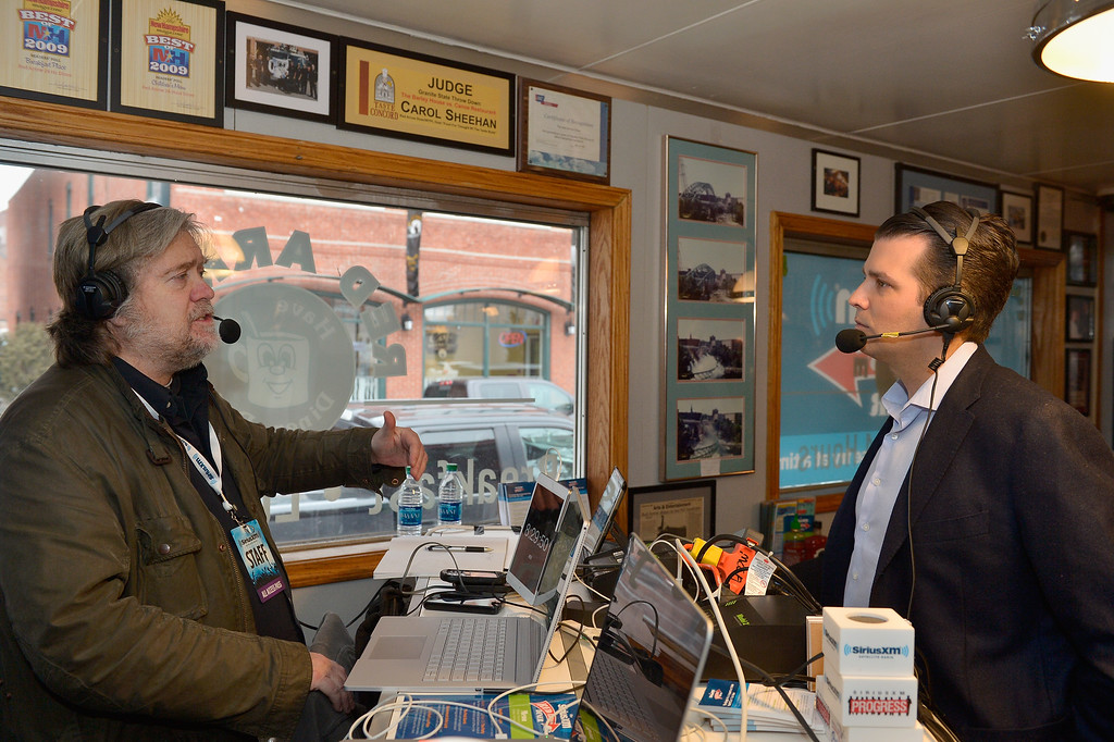 . MANCHESTER, NH - FEBRUARY 08:  Breitbart News Daily Stephen K. Bannon interviews Donald Trump, Jr. for SiriusXM Broadcasts\' New Hampshire Primary Coverage Live From Iconic Red Arrow Diner on February 8, 2016 in Manchester, New Hampshire.  (Photo by Paul Marotta/Getty Images for SiriusXM)