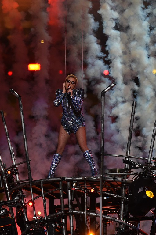 . Singer Lady Gaga performs during the halftime show of Super Bowl LI at NGR Stadium in Houston, Texas, on February 5, 2017. (TIMOTHY A. CLARY/AFP/Getty Images)