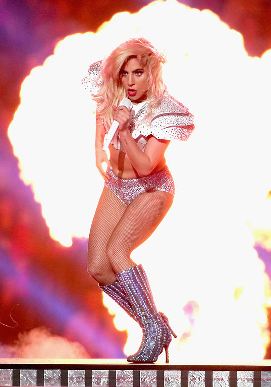 . HOUSTON, TX - FEBRUARY 05:  Musician Lady Gaga performs onstage during the Pepsi Zero Sugar Super Bowl LI Halftime Show at NRG Stadium on February 5, 2017 in Houston, Texas.  (Photo by Christopher Polk/Getty Images)