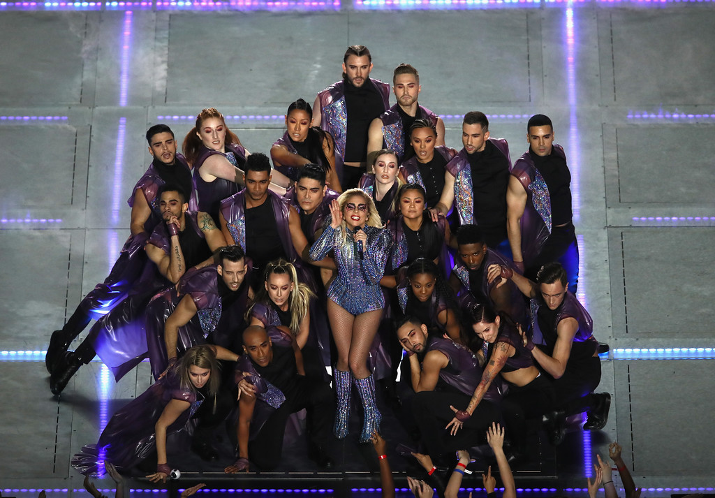 . HOUSTON, TX - FEBRUARY 05:  Lady Gaga performs during the Pepsi Zero Sugar Super Bowl 51 Halftime Show at NRG Stadium on February 5, 2017 in Houston, Texas.  (Photo by Ezra Shaw/Getty Images)