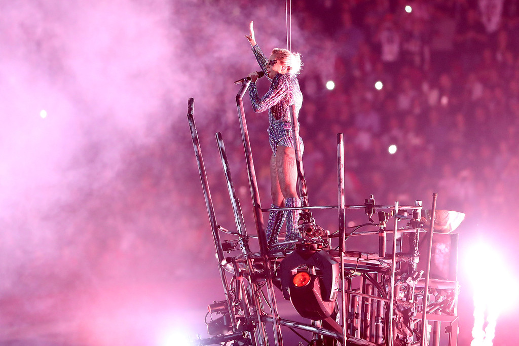 . HOUSTON, TX - FEBRUARY 05: Lady Gaga performs during the Pepsi Zero Sugar Super Bowl 51 Halftime Show at NRG Stadium on February 5, 2017 in Houston, Texas.  (Photo by Patrick Smith/Getty Images)