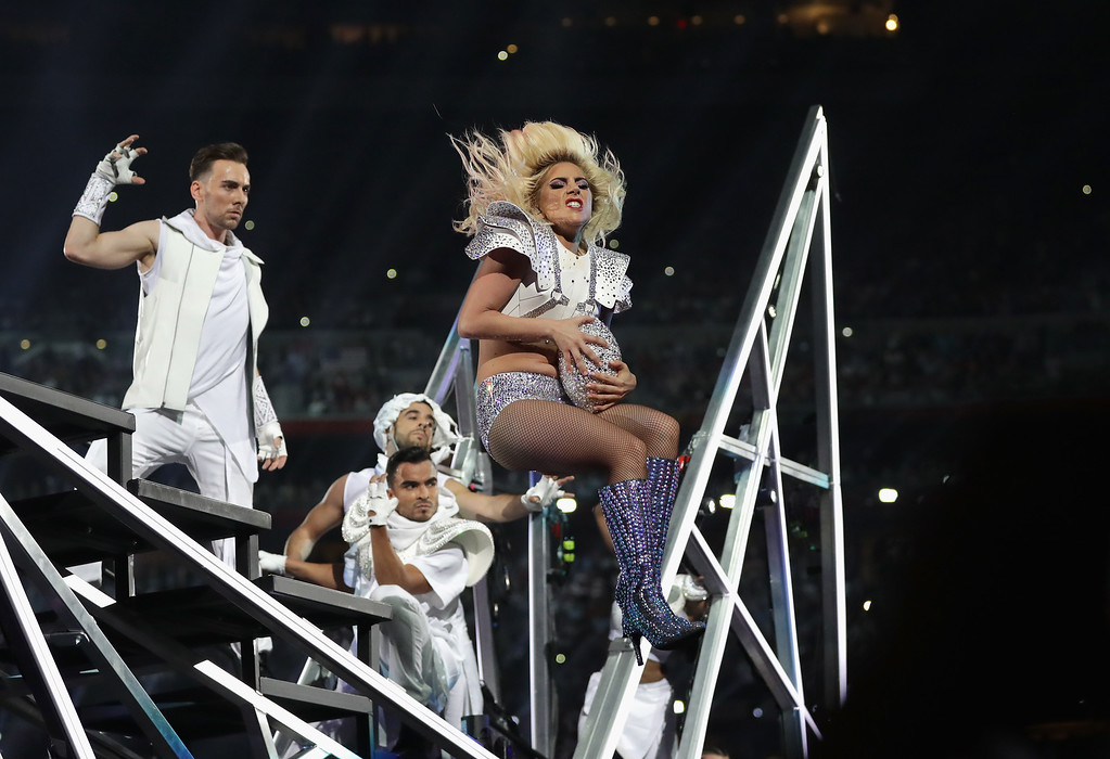 . HOUSTON, TX - FEBRUARY 05:  Lady Gaga performs during the Pepsi Zero Sugar Super Bowl 51 Halftime Show at NRG Stadium on February 5, 2017 in Houston, Texas.  (Photo by Ronald Martinez/Getty Images)