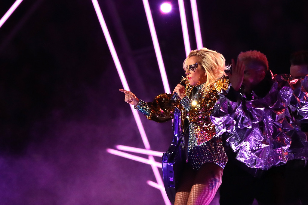 . HOUSTON, TX - FEBRUARY 05:  Lady Gaga performs during the Pepsi Zero Sugar Super Bowl 51 Halftime Show at NRG Stadium on February 5, 2017 in Houston, Texas.  (Photo by Elsa/Getty Images)