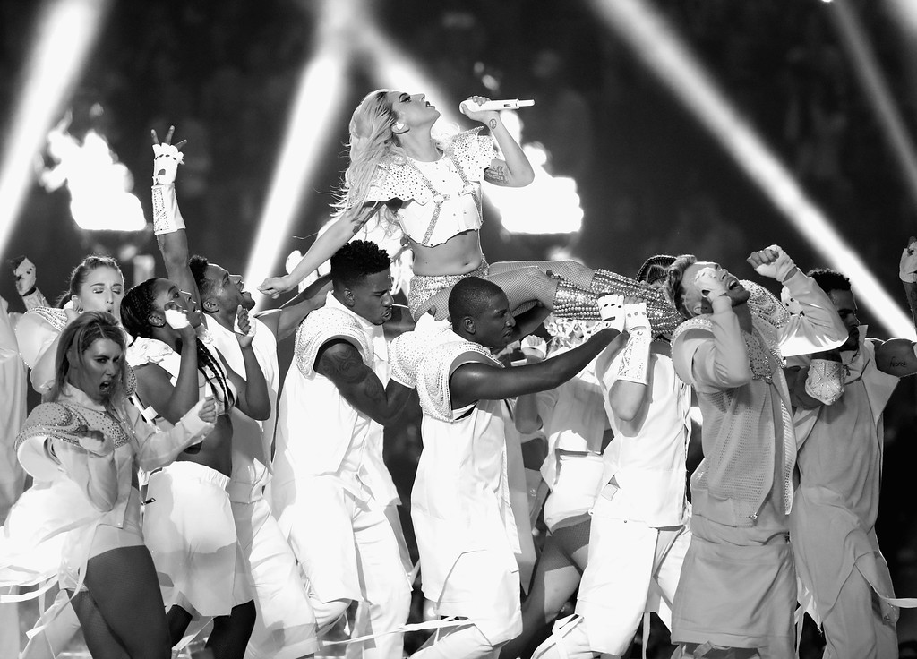 . HOUSTON, TX - FEBRUARY 05:  (EDITOR NOTE: Image has been converted to black and white.) Musician Lady Gaga performs onstage during the Pepsi Zero Sugar Super Bowl LI Halftime Show at NRG Stadium on February 5, 2017 in Houston, Texas.  (Photo by Christopher Polk/Getty Images)