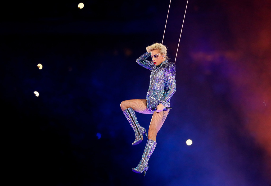 . HOUSTON, TX - FEBRUARY 05:  Lady Gaga performs during the Pepsi Zero Sugar Super Bowl 51 Halftime Show at NRG Stadium on February 5, 2017 in Houston, Texas.  (Photo by Kevin C. Cox/Getty Images)