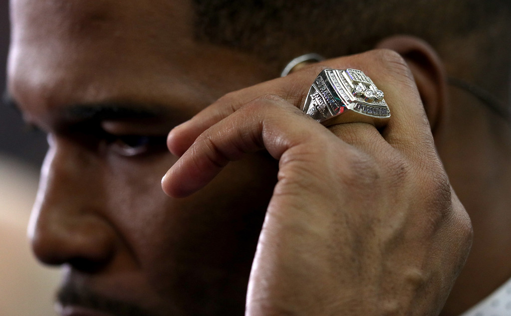. HOUSTON, TX - FEBRUARY 05: A detail view of Michael Strahan\'s Super Bowl championship ring is seen prior to Super Bowl 51 between the New England Patriots and the Atlanta Falcons at NRG Stadium on February 5, 2017 in Houston, Texas.  (Photo by Patrick Smith/Getty Images)