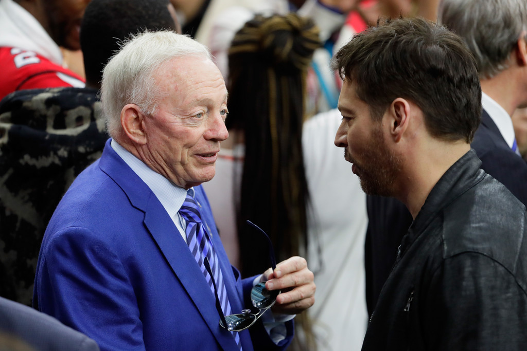 . HOUSTON, TX - FEBRUARY 05:  Owner, president, and general manager of the Dallas Cowboys Jerry Jones (L) talks to Harry Connick Jr. prior to Super Bowl 51 between the New England Patriots and the Atlanta Falcons at NRG Stadium on February 5, 2017 in Houston, Texas.  (Photo by Jamie Squire/Getty Images)