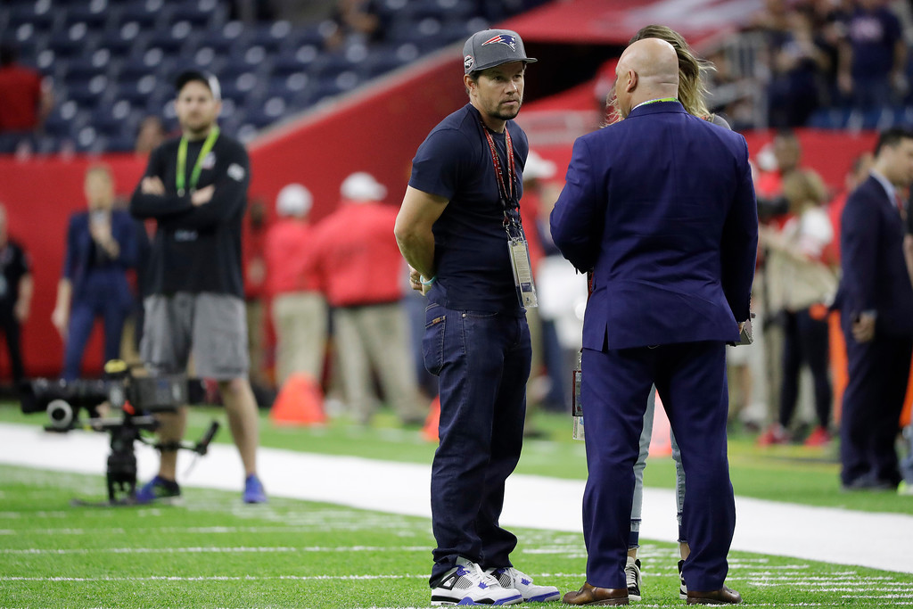 . Actor Mark Wahlberg is shown before the NFL Super Bowl 51 football game between the Atlanta Falcons and the New England Patriots Sunday, Feb. 5, 2017, in Houston. (AP Photo/Elise Amendola)