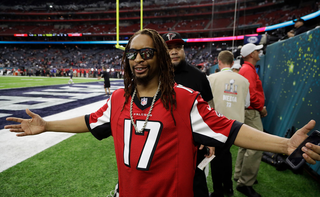 . Rapper Lil Jon poses before the NFL Super Bowl 51 football game between the New England Patriots and the Atlanta Falcons, Sunday, Feb. 5, 2017, in Houston. (AP Photo/Chuck Burton)