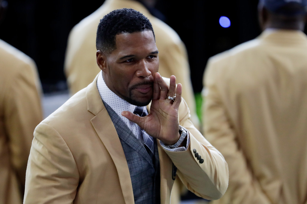 . HOUSTON, TX - FEBRUARY 05:  TV personality and former NFL player Michael Strahan looks on prior to Super Bowl 51 between the New England Patriots and the Atlanta Falcons at NRG Stadium on February 5, 2017 in Houston, Texas.  (Photo by Jamie Squire/Getty Images)