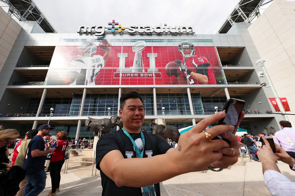 . HOUSTON, TX - FEBRUARY 05:  A fan takes a picture prior to Super Bowl 51 between the New England Patriots and the Atlanta Falcons at NRG Stadium on February 5, 2017 in Houston, Texas.  (Photo by Tom Pennington/Getty Images)