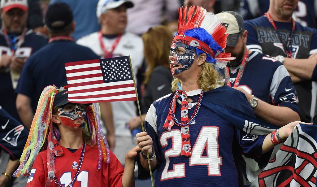 . Patriot fans wait for Super Bowl LI between the New England Patriots and the Atlanta Falcons at NGR Stadium in Houston, Texas, on February 5, 2017. (TIMOTHY A. CLARY/AFP/Getty Images)