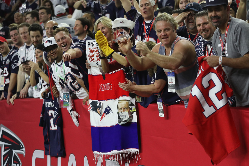. HOUSTON, TX - FEBRUARY 05:  New England Patriots fans celebrate after the Patriots defeat the Atlanta Falcons 34-28  in Super Bowl 51 at NRG Stadium on February 5, 2017 in Houston, Texas.  (Photo by Patrick Smith/Getty Images)