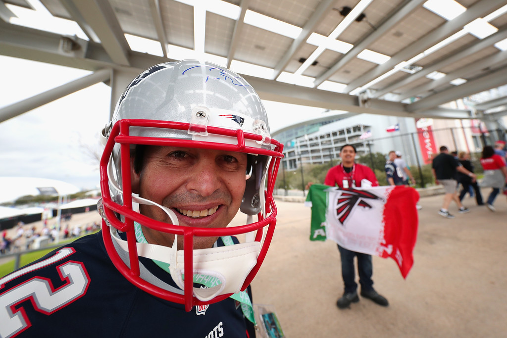 . HOUSTON, TX - FEBRUARY 05:  A New England Patriots fan poses prior to Super Bowl 51 between the New England Patriots and the Atlanta Falcons at NRG Stadium on February 5, 2017 in Houston, Texas.  (Photo by Tom Pennington/Getty Images)
