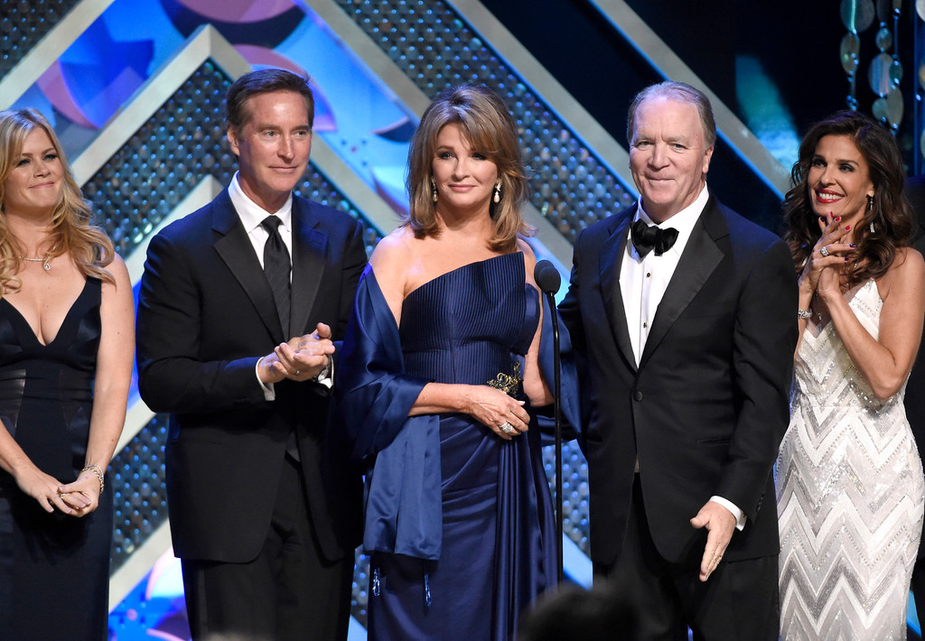 . Allison Sweeney, from left, Drake Hogestyn, Deidre Hall, Ken Corday, and Kristian Alfonso speak at the 42nd annual Daytime Emmy Awards at Warner Bros. Studios on Sunday, April 26, 2015, in Burbank, Calif. (Photo by Chris Pizzello/Invision/AP)