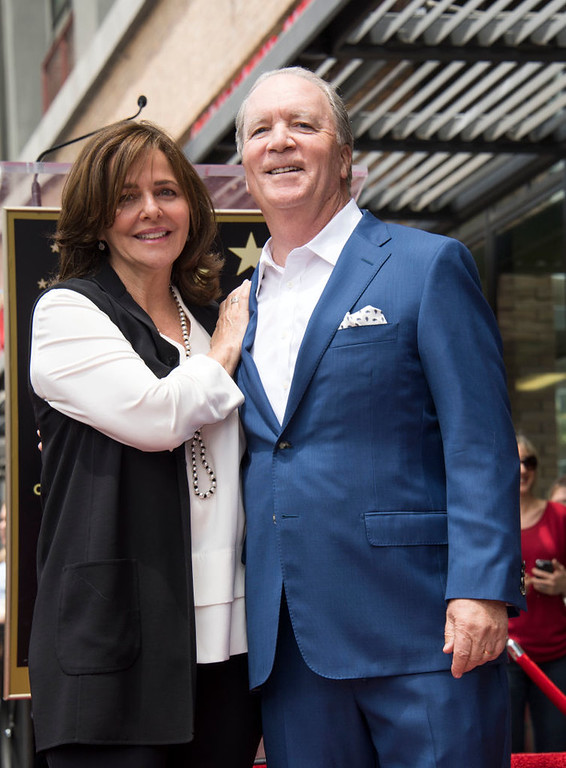 . Producer Ken Corday (R) and wife Sherry Williams attend the ceremony honoring Corday with a Star on the Hollywood Walk of Fame, on May 10, 2017, in Hollywood, California. (VALERIE MACON/AFP/Getty Images)