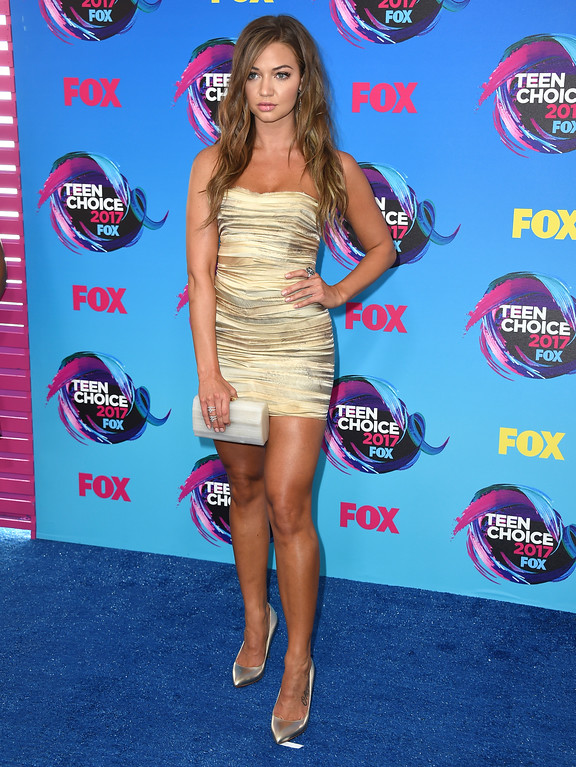. Erika Costell arrives at the Teen Choice Awards at the Galen Center on Sunday, Aug. 13, 2017, in Los Angeles. (Photo by Jordan Strauss/Invision/AP)