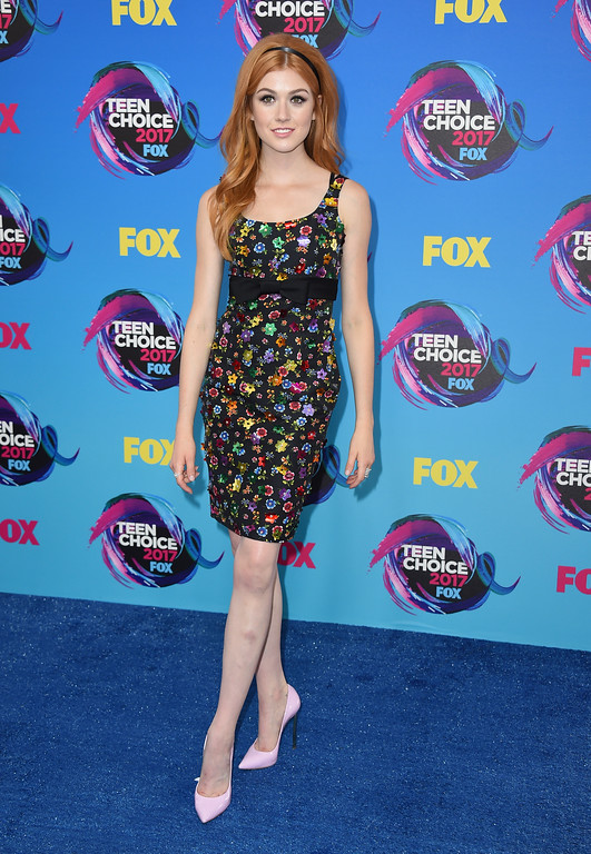 . Katherine McNamara arrives at the Teen Choice Awards at the Galen Center on Sunday, Aug. 13, 2017, in Los Angeles. (Photo by Jordan Strauss/Invision/AP)