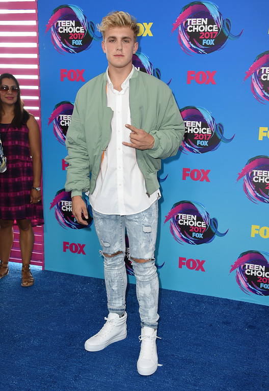 . Jake Paul arrives at the Teen Choice Awards at the Galen Center on Sunday, Aug. 13, 2017, in Los Angeles. (Photo by Jordan Strauss/Invision/AP)